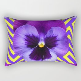 CONTEMPORARY PURPLE PANSIES  FLOWERS YELLOW PATTERNS Rectangular Pillow