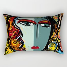 Portrait of a Girl with Hat French Pop Art Expressionism Rectangular Pillow