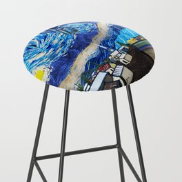 Tardis Art Starry City Night Bar Stool