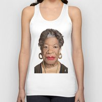 celebrity Tank Tops featuring Celebrity Sunday ~ Maya Angelou by rob art | illustration