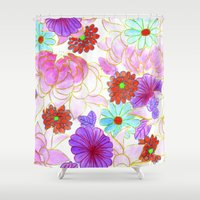 oriental Shower Curtains featuring Oriental blossom by Federico Faggion