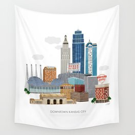Kansas City Skyline Wall Tapestry