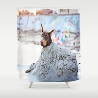 doberman Shower Curtains featuring Beachy Keen by Paw Prints By Jamie
