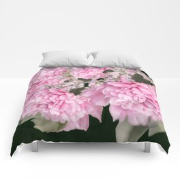 Pink Bouquet On A Black Background  #society6 #buyart Comforters