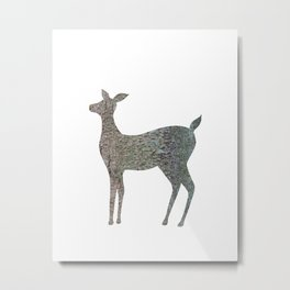 deer silhouette doe bark with lichen Metal Print