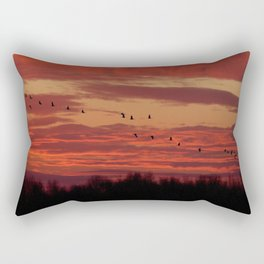 Flight of cranes in the south Rectangular Pillow