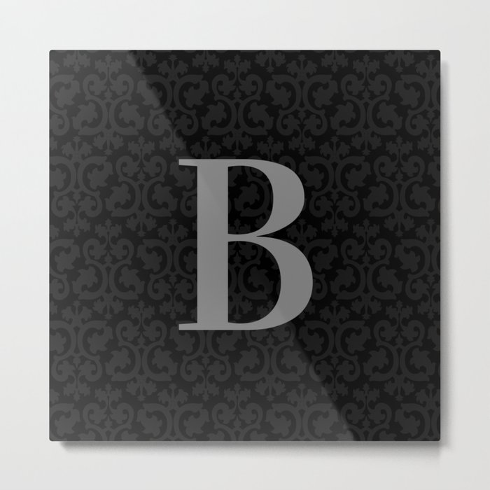 Modern Black Grey Damask Letter B Monogram Metal Print