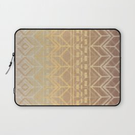 Neutral Tan & Gold Tribal Ikat Pattern Laptop Sleeve