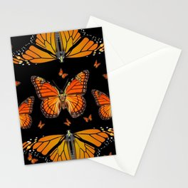ABSTRACT ORANGE MONARCH BUTTERFLIES BLACK  PATTERNS Stationery Cards