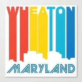Retro 1970's Style Wheaton Maryland Skyline Canvas Print