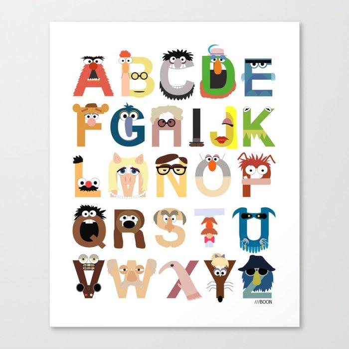 Muppet Alphabet Canvas Print