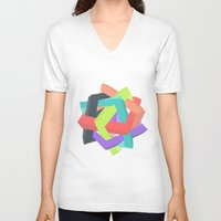 origami V-neck T-shirts featuring Origami by Renata Esteves