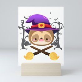 sloth witch hat halloween costume Mini Art Print