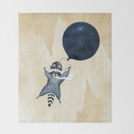 Raccoon Balloon Throw Blanket