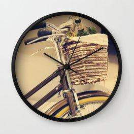 Let's Take a ride (Vintage Brown Bike) Wall Clock