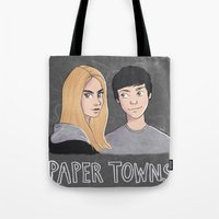 paper towns Tote Bags featuring Paper Towns by Joan Pons
