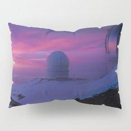 Astronomical Telescopes Sunset at Mauna Kea Summit, Big Island, Hawaii Pillow Sham