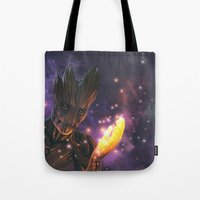 groot Tote Bags featuring Groot by Aferova