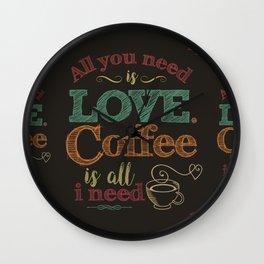 Love & Coffee (dark brown) Wall Clock