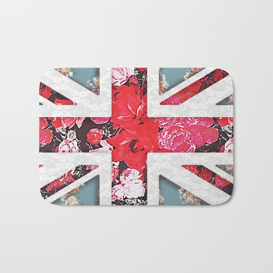 God save the Queen | Elegant girly red floral & lace Union Jack  Bath Mat