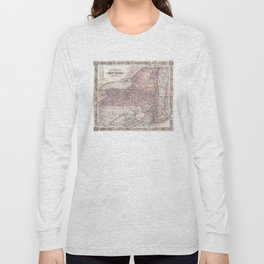 Vintage New York State Railroad Map (1876) Long Sleeve T-shirt