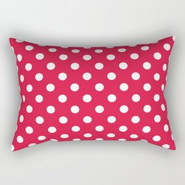 Small Polka Dots - White on Crimson Red Rectangular Pillow
