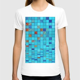 Blue And Red Geometrical Art - Block Party 1 - Sharon Cummings T-shirt
