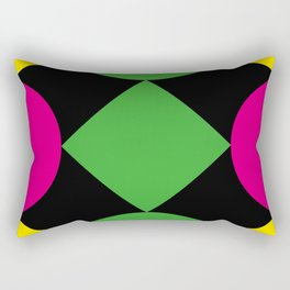 A green square being touched by two half-circles, surrounded by a Yellow Veil. Rectangular Pillow