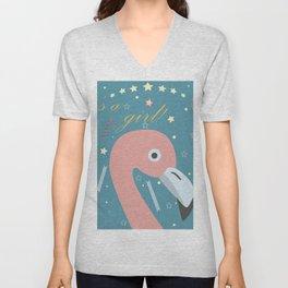 Cute Flamingo Unisex V-Neck