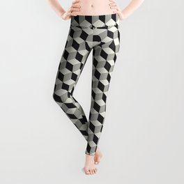 Geometric Pattern 195 (black gray blocks) Leggings