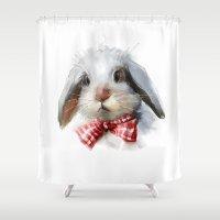 rabbit Shower Curtains featuring rabbit by tatiana-teni