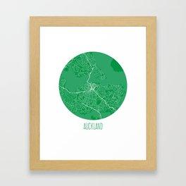Auckland. Green.  Framed Art Print