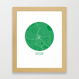 Auckland. Green.  Framed Art Print