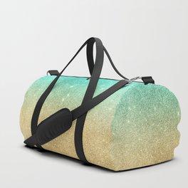 Aqua teal abstract gold ombre glitter Duffle Bag