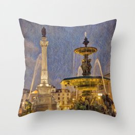 Rossio fountain at night Throw Pillow