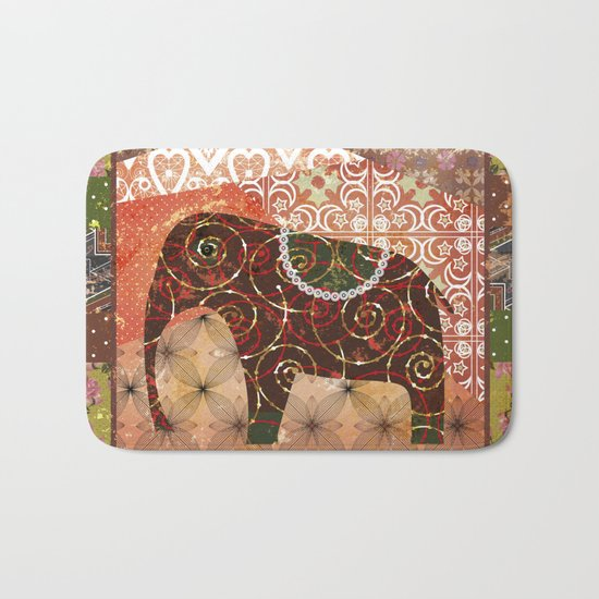 Digital illustration of an Elephant . Bath Mat