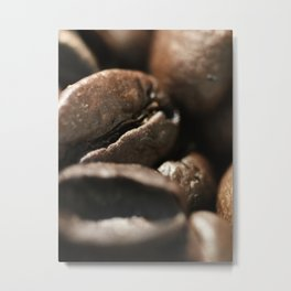Coffee beans macro photo, fine art, still life, interior decoration, for bar & restaurant, Pub sign Metal Print