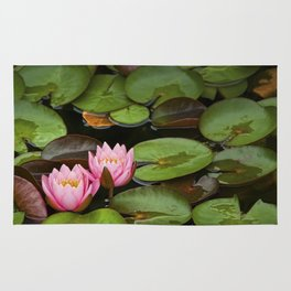Pink Lily Pads with Blossoms on a Michigan Pond Rug