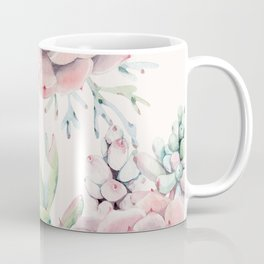 Pink Succulents on Cream Coffee Mug