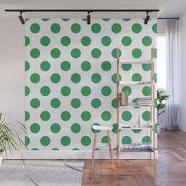 Kelly Green Medium Polka Dots Wall Mural