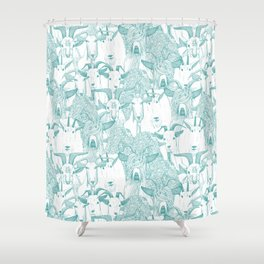 just goats teal Shower Curtain
