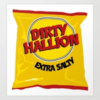 hallion Art Prints featuring DIRTY HALLION by SPECIALITEES