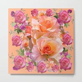 PEACHY PINK VICTORIAN ROSE VIGNETTE Metal Print
