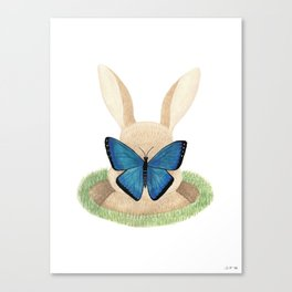 Butterfly resting on a bunny's nose Canvas Print