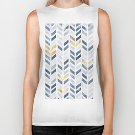 Herringbone chevron pattern. Indigo gold acrylic on canvas Biker Tank