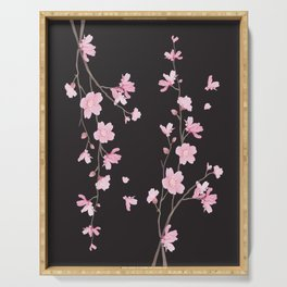 Cherry Blossom - Black Serving Tray