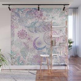 Magical Iridescent Glitter Feathers Dreamcatcher Wall Mural