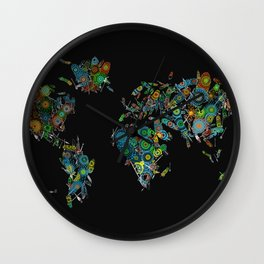 world map feathers mandala Wall Clock