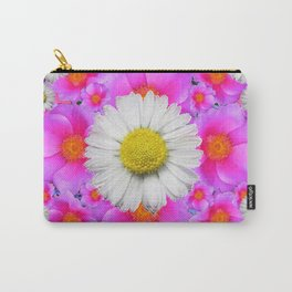 Colorful Fuchsia Rose Bouquet Garden Shasta Daisies Carry-All Pouch