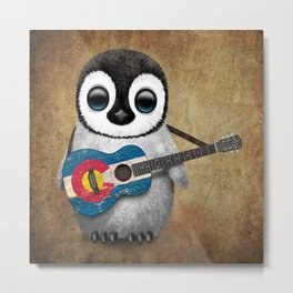 Baby Penguin Playing Colorado Flag Guitar Metal Print